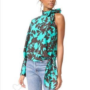 Diane Von Furstenburg One shoulder Halter tie Silk